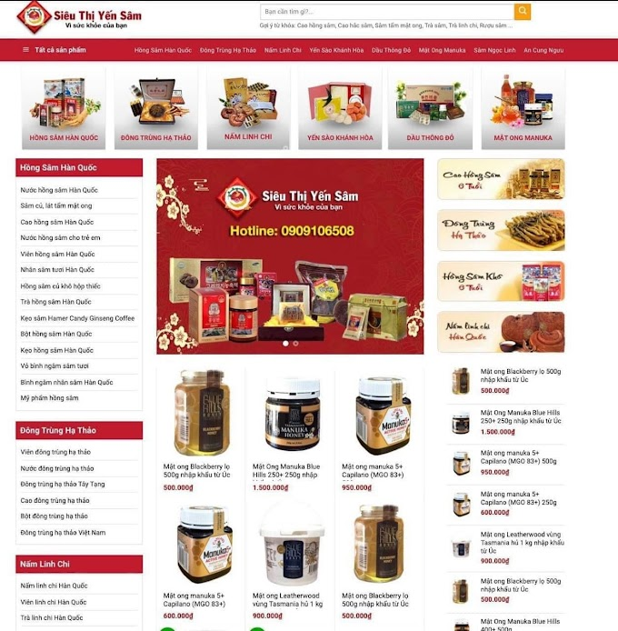 Mẫu website bán yến sâm
