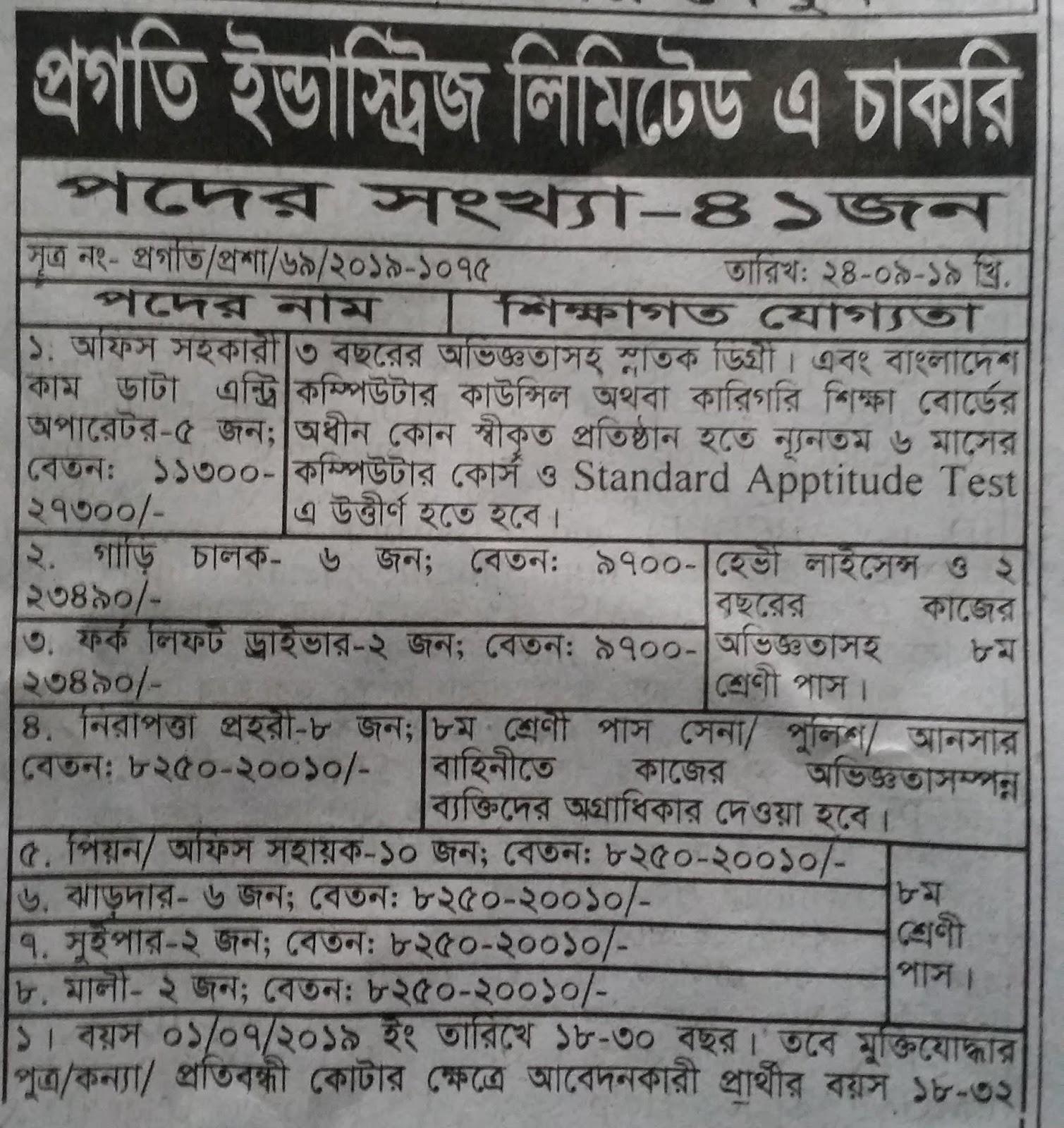 Progati Industries Ltd Job Circlar