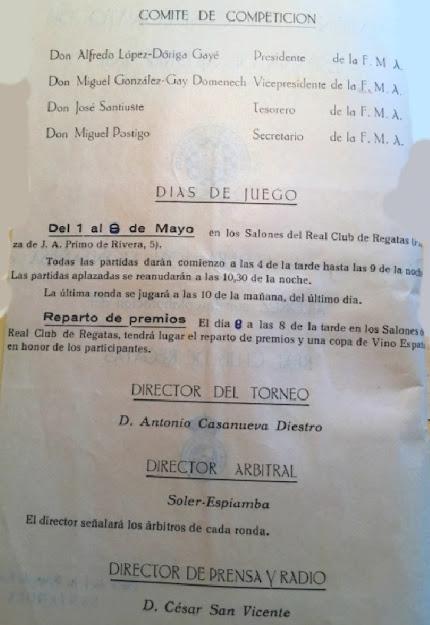 Página nº 2 del programa oficial de la Semifinal Norte del Campeonato de España Individual de ajedrez (Santander 1961)