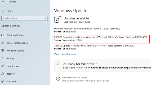 KB5005565 Windows 10 21H2, 21H1, 20H2 and 2004 update released