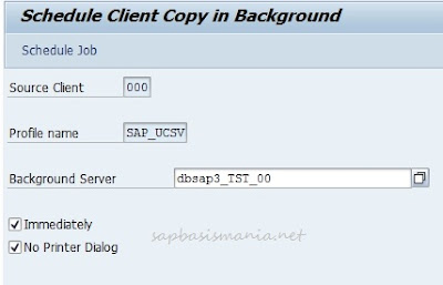 Choosing Background Server for SAP Client Copy