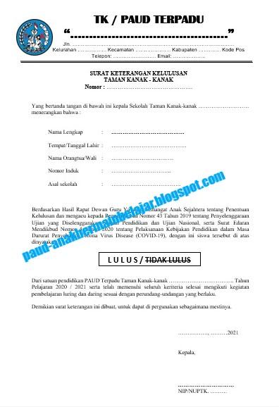 Contoh surat PAUD, Surat Kelulusan PAUD, IJASAH TK Pada Masa Pandemi Covid-19