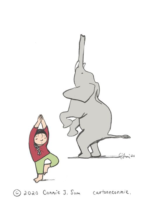 sketchbook, elephant, yoga, stress relief, comics, cartoonconnie, connie sun