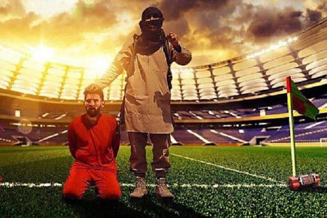 Ngeri! ISIS Kirim Pesan Teror dengan Gambar Lionel Messi yang Tengah Siap Dieksekusi....
