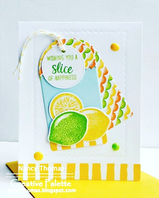 Sunny Studio Stamps: Slice Of Summer & Build-A-Tag Dies Lemon Lime Card by Nancy Thomas
