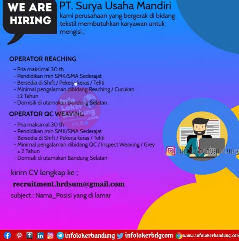 Lowongan Kerja PT. Surya Usaha Mandiri Bandung Februari 2021
