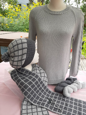 Double knit hat & scarf, and seamed sweater
