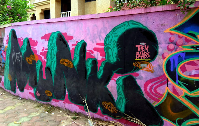 CDP Theme Day, pink, wall, graffiti, street art, bandra, painting, street, streetphoto, mumbai, incredible india,