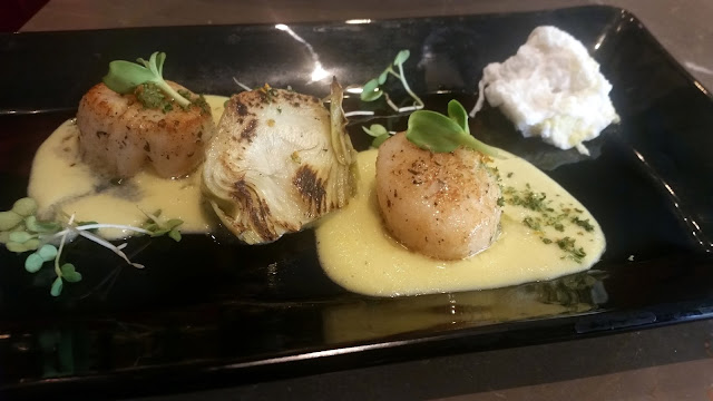 Pan Seared Scallops with Poached Eggs