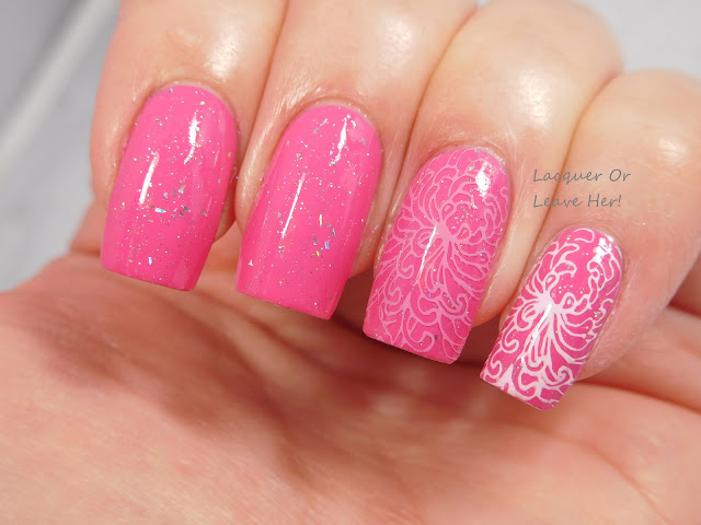 Messy Mansion MM46 stamped over daniPro My Girl Pure Pink + Spellbound Nails Comet