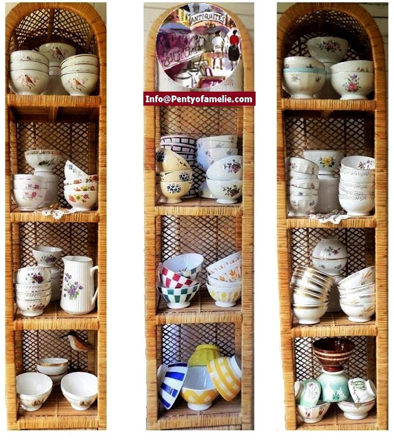 a wide selection of french Latte bowls in various sizes and materials from early 20th up to 1980s