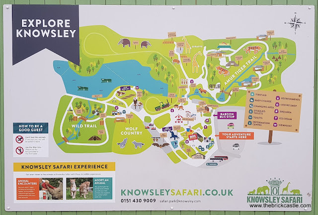 Knowsley Safari site map where are the animals on foot walking round