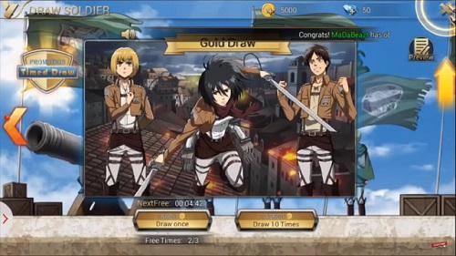 Attack On Titan: Assault có phần pk dạng theo từng lượt và nguyên tố thẻ bài được thêm vào