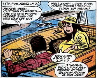 Amazing Spider-Man #61, don heck, john romita, mary jane watson and harry osborn sit in his car as she sets off to get her payment from the nightclub she's a dancer at