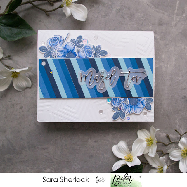 Mazel Tov Word Die, Beautiful Girl Flowers Stamp Set, Geosquares Stencil, Congratulations card, handmade card, picket fence studios, Jewish wedding card