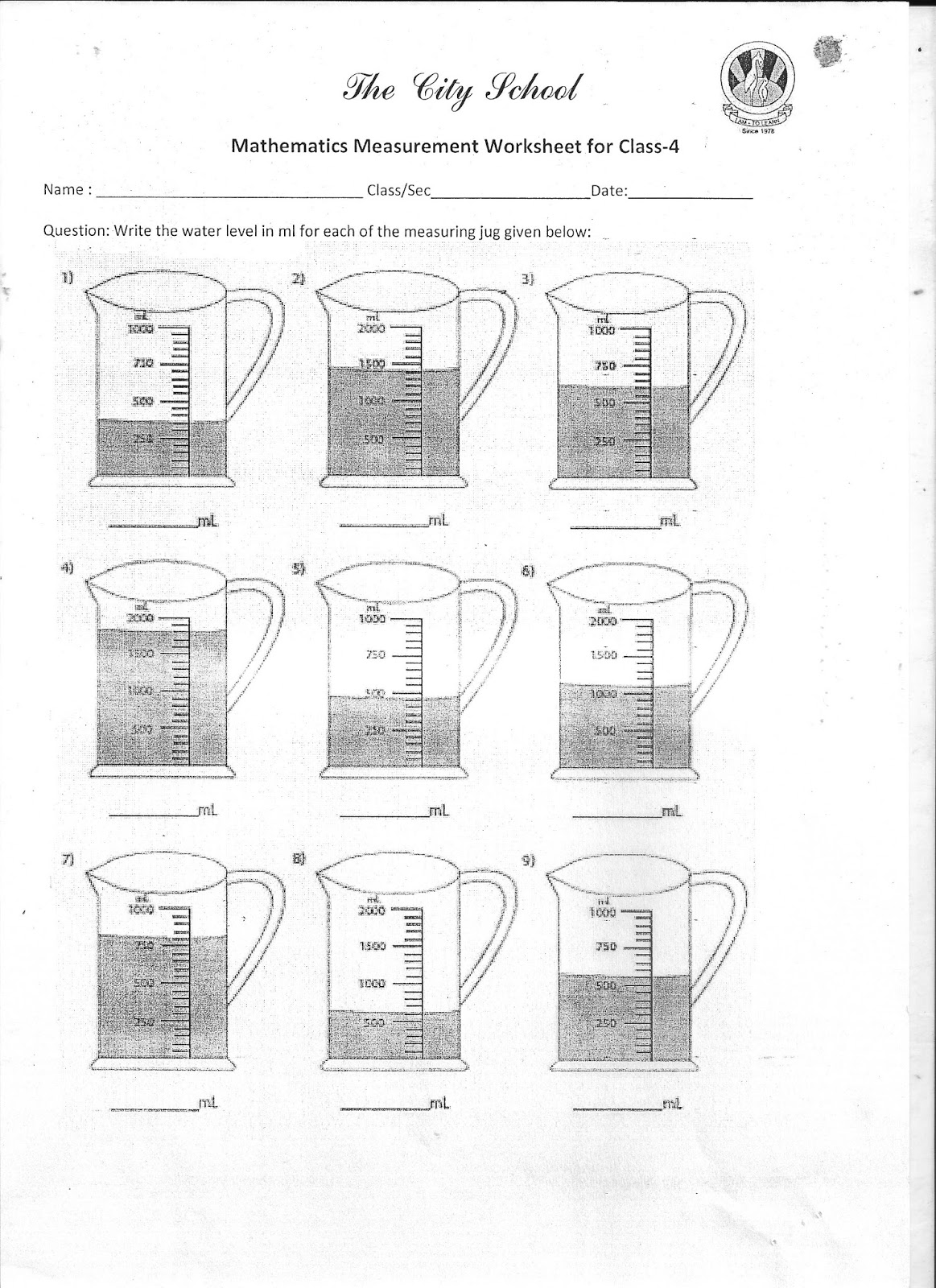 The City School Worksheet For Class