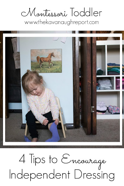 It can be difficult to get toddlers to dress themselves. Here are four Montessori tips to encourage independent dressing. These easy ideas can take away the struggles around dressing.