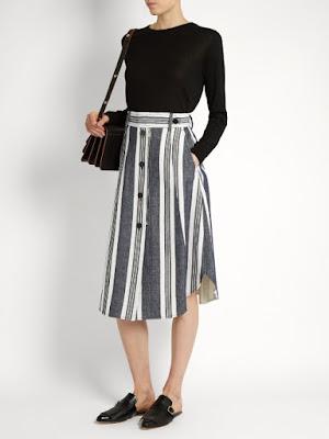 black and white striped midi skirt from Sportmax, on Matchesfashion.com
