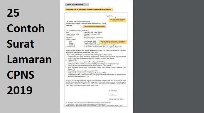 5, format surat lamaran dan surat pernyataan seleksi asn tahun 2021, 30/06/2021. 25 Contoh Surat Lamaran CPNS 2019, Unduh Di Sini ...