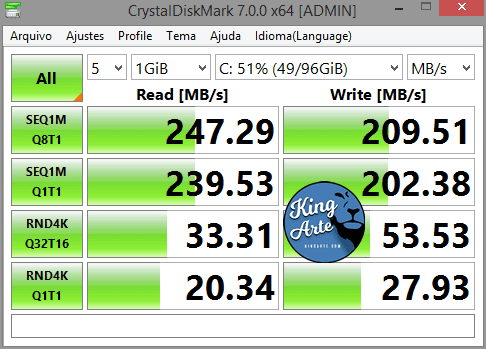 Teste de Velocidade SSD KingSpec P4 120GB