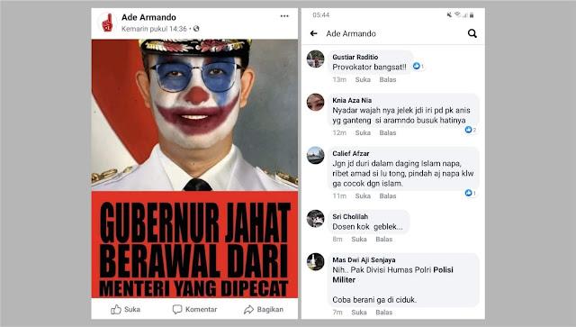 Ade Armando posting foto Anies mirip Joker