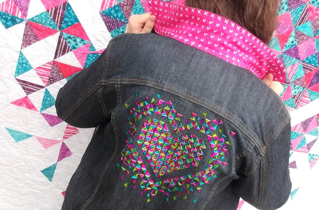 Right triangle hot-fix crystals on an upcycled denim jacket following the Exploding Heart quilt pattern by Slice of Pi Quilts