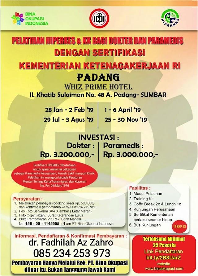 Pelatihan HIPEKES Padang 2019 Untuk Dokter dan Paramedis