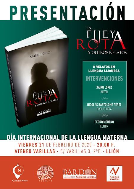 Muestra'l cartel de la presentación de La Fueya Rota y outros relatos, de Xairu López