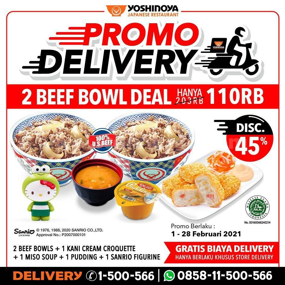 YOSHINOYA Promo khusus DELIVERY! Paket 2 Beef Bowl Deal cuma 110.000