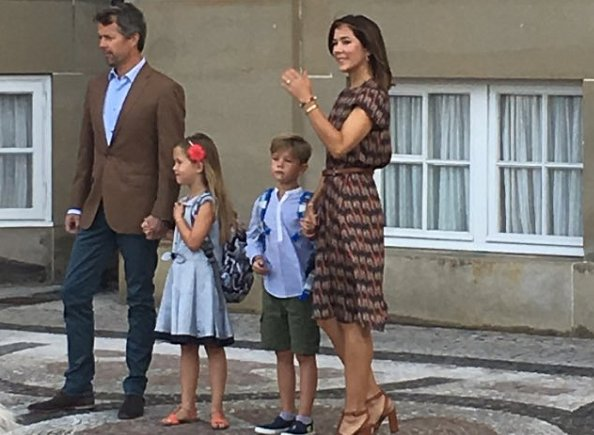 Crown Princess Mary's youngest children, Prince Vincent and Princess Josephine started Tranegård School. Mary wore dress
