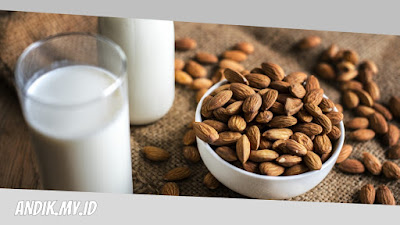 susu almond, kacang almond, kuliner, minuman,
