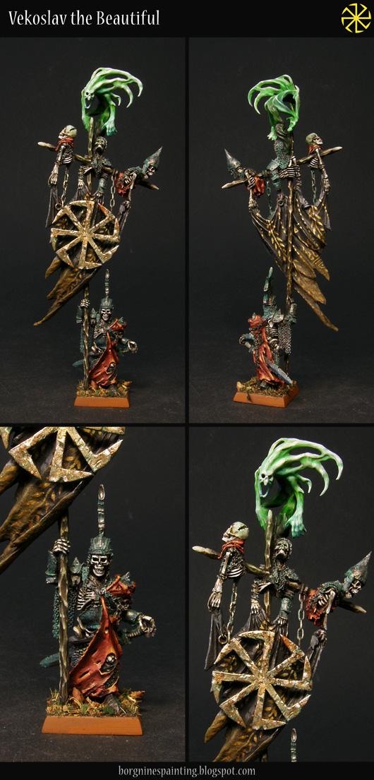 A compilation of four photos, each depicting a tabletop miniature Wight King standard bearer from Forge World. Top two pictures whow the whole model from the front and back, while the bottom ones focus on the banner carrier himself and then the banner with the converted sigil. Usable in WFB or AoS.