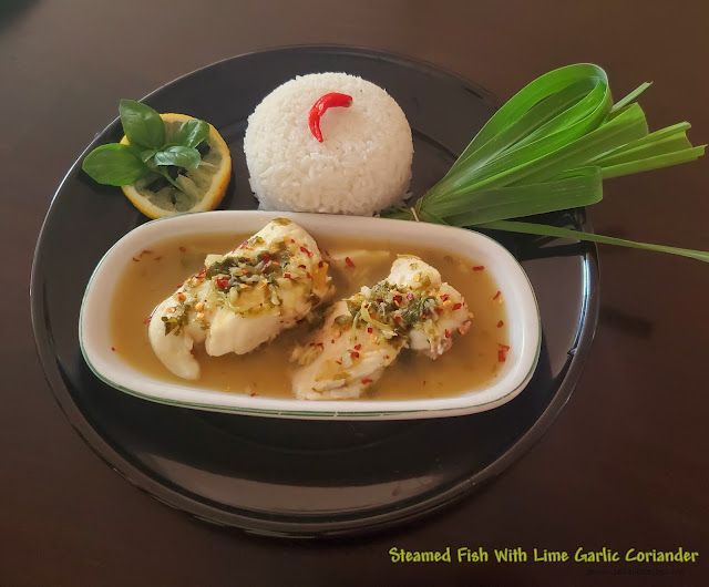 images of Steamed Fish With Lime and Garlic Recipe / Thai Lime & Garlic Steamed Fish / Pla Kapong Neung Manao