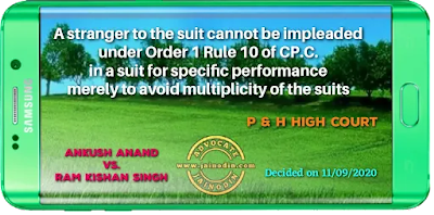 A stranger to the suit cannot be impleaded under Order 1 Rule 10 of C.P.C. in a suit for specific performance merely to avoid multiplicity of the suits