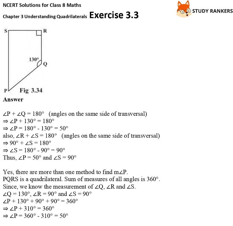 NCERT Solutions for Class 8 Maths Ch 3 Understanding Quadrilaterals Exercise 3.3 7