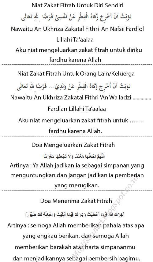 Doa Niat Zakat Fitrah