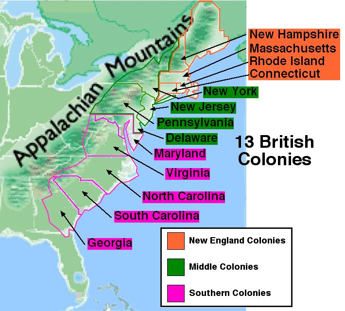 13 colonies country settling in a relationship