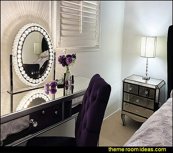 Hollywood Mirror with Lights Crystal Vanity mirrored furniture hollywood glam decor