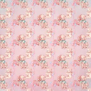 baby girl teddy bear background digital paper scrapbooking