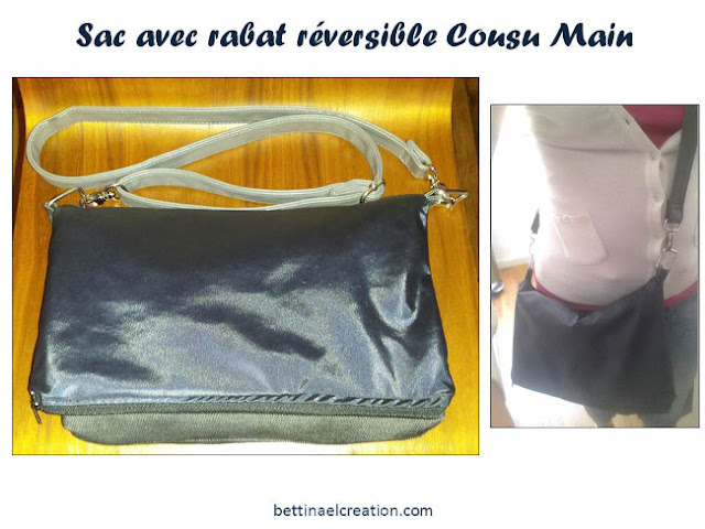 Ma besace avec rabat r versible cousu main bettinael passion couture made in france - Tuto sac bandouliere avec rabat ...
