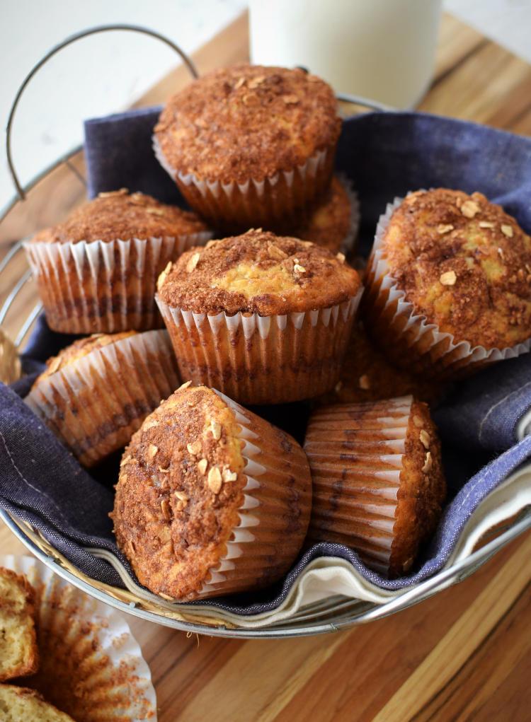 Muffins de avena con relleno de canela y también en el tope
