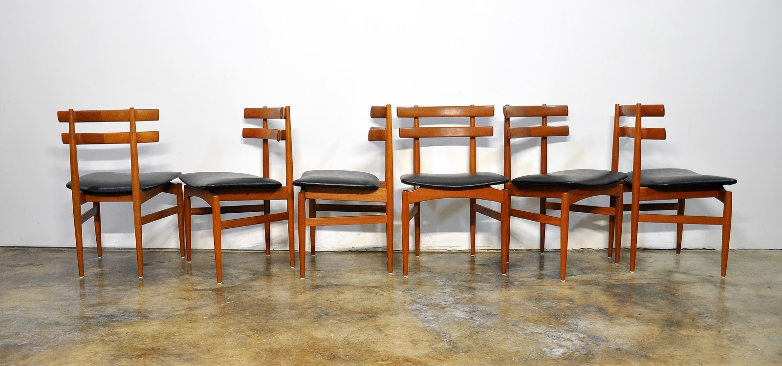 Select modern set of 6 poul hundevad teak dining chairs for B q dining room furniture