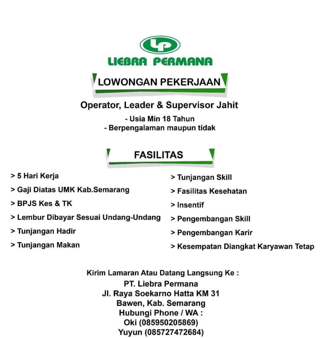 Lowongan Semarang PT Liebra Permana Sebagai Operator, Leader & Supervisor