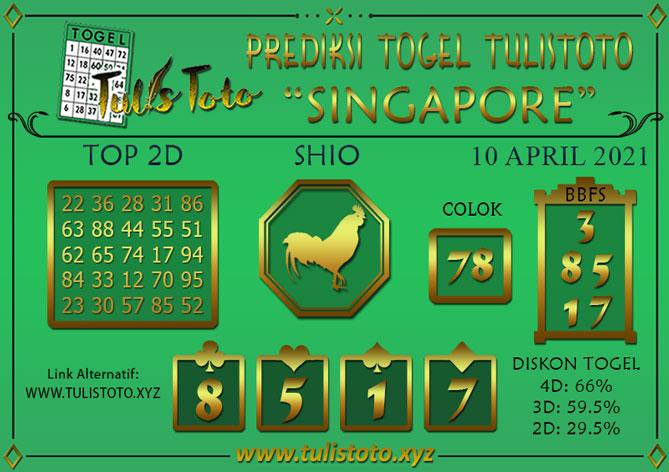 Prediksi Togel SINGAPORE TULISTOTO 10 APRIL 2021