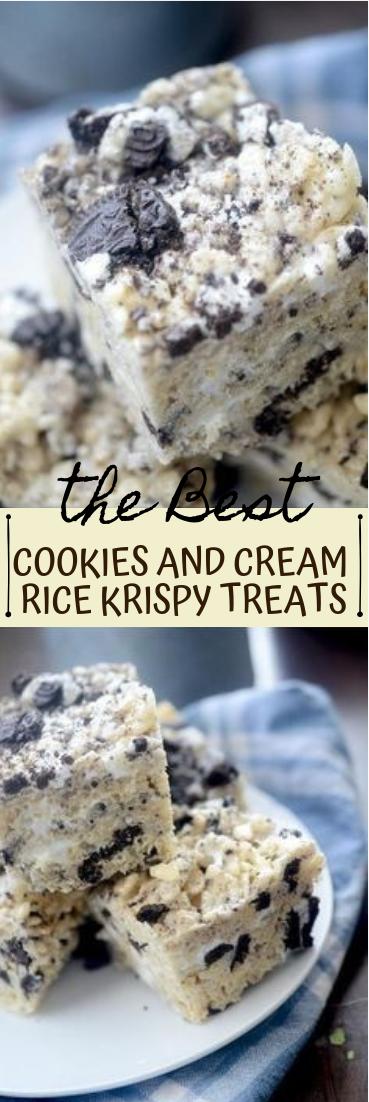 COOKIES AND CREAM RICE KRISPY TREATS #desserts #cakerecipe #chocolate