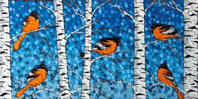 Baltimore orioles painting by artist aaron kloss, painting of birds, birch tree painting, pointillism
