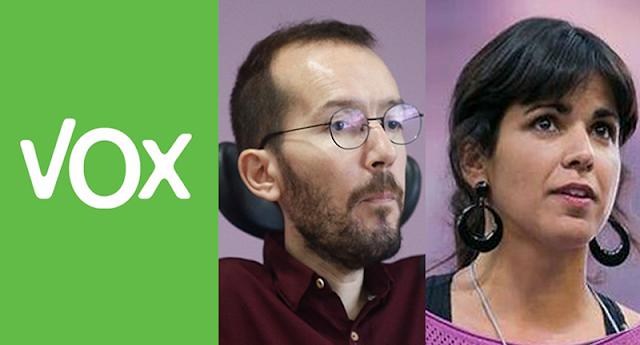"""VOX se querella contra Pablo Echenique y Teresa Rodríguez por un presunto delito de """"calumnias, injurias y odio"""""""