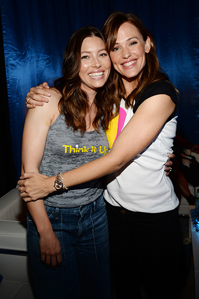 Jessica Biel and Jennifer Garner at the party Think It Up