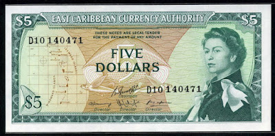 East Caribbean Currency 5 Dollars banknote note, Queen Elizabeth
