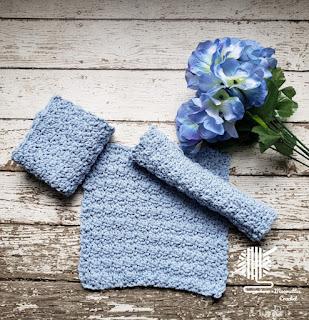 Reusable Handmade Dish Cloths Blue Cotton